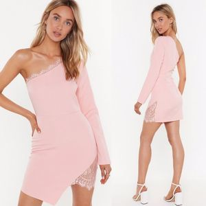NWT Nasty Gal Blush Lace One Shoulder Dress Size L